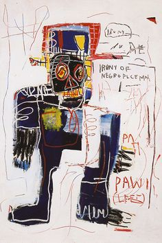 JEAN-MICHEL BASQUIAT- Irony of the Negro Policeman (1981)  Acrylic and crayon on canvas. 183 x 122cm.