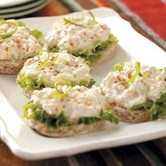 Crab Salad Tea Sandwiches Recipe -I make these sandwiches for showers, weddings, and special family events. I got the recipe from a friend many years ago while attending the wedding of their daughter. They are so delicious, you can't stop at just one. —Edie DeSpain, Logan, Utah