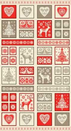 Scandinavian Decorative Christmas Holiday Quilting Fabric Panel Makower 14831 by Petestreasuretrove on Etsy