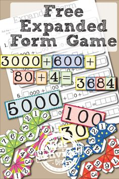 Free printable place value game for learning expanded form from Little Learning Lovies and Kids Activities Blog.