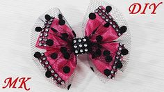 How to make a bow with their hands in satin ribbon and tulle. DIY MARLENA-Hand Made - YouTube