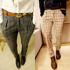 Guys can get in on the printed pants fun with plaids.