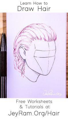 How to Draw Hair: Tutorials, Worksheets and References Basic Drawing, Drawing Skills, Drawing Reference, How To Draw Hair, Learn To Draw, Easy Drawings, Awesome Drawings, Awesome Art, Drawing Tutorials For Beginners