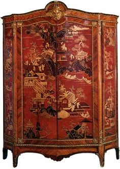 Anonymous. Armoire in Chinese lacquer. 18th century.  Rose wood, and Chinese lacquer.