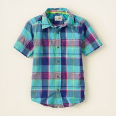 boy - short sleeve tops - plaid madras shirt | Children's Clothing | Kids Clothes | The Children's Place
