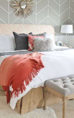 Master Bedroom Makeover Rustic Chic-driftwood mirror, herringbone wall, Valspar Beach, H & M Bedding