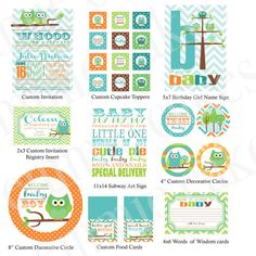 Custom Owl Baby Shower Printable Kit by emmiecakes on Etsy, $23.00