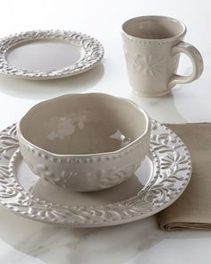 16-Piece Taupe Bianca Leaf Dinnerware Service at Horchow.