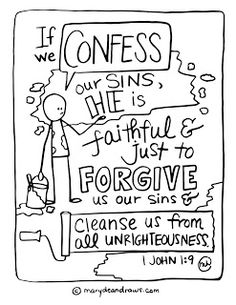 """1 John 1:9 """"if we confess our sins, he is faithful and just"""" God's Promises by Sarah Michael, lesson 4"""