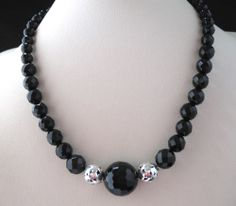 LOIS HILL SILVER TAPERED ONYX STONE NECKLACE W/2 OPEN CUTOUT BALL CHARMS, $258