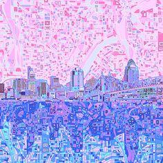 Title  Cincinnati Skyline Abstract   Artist  MB Art factory   Medium  Painting - Digital Art