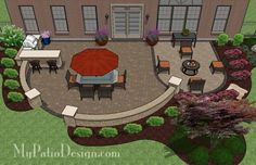 Beautiful arcs create this patio design for entertaining with grill station-bar, seating walls and fire pit area. Download layouts and material list.