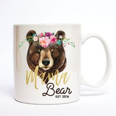 """best coffee mugs for moms such as """"She drinks more coffee than a Gilmore"""", along with """"mama hair, don't care"""", """"mama bear"""", """"leggings are. Best Coffee Mugs, Tea Mugs, My Coffee, Coffee Cups, Cute Cups, Alice, Bear Design, Coffee Is Life, Bear Art"""
