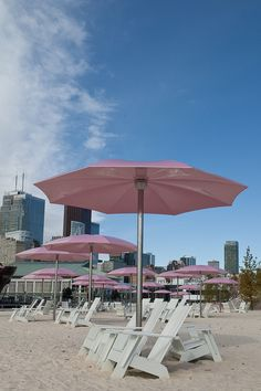 Sugar Beach, Toronto: no swimming, but a nice splash pad, views, sand-castle opportunities and yummy food at near-by Against the Grain.