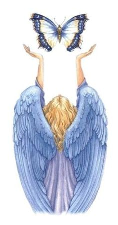 Angel with blue wings releasing blue butterfly. Angels Touch, I Believe In Angels, Ange Demon, Angel Pictures, Angels Among Us, Angels In Heaven, Heavenly Angels, Guardian Angels, Angel Art