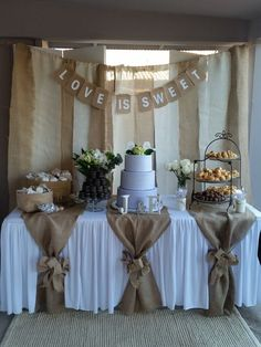 Used (normal wear), Dessert table backdrop with love is sweet sign. And table burlap pieces with 2 bows (can't find the bow). Used for bridal shower. Make an offer! Used (normal wear), Dessert table backdrop with Backdrops For Sale, Backdrops For Weddings, Rustic Wedding Decorations, Burlap Table Decorations, Bridal Shower Table Decorations, Table Centerpieces, Wedding Ideas With Burlap, Wedding Shower Centerpieces, Country Wedding Centerpieces