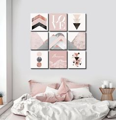 This geometric masterpiece in blush tones creates a soft and stunning backdrop. This set includes 9 Modern Geometric Blush prints in our frameless Edge tile. Art by Lindsay Macdonald White Bedroom, Modern Bedroom, Bedroom Wall, Diy Bedroom Decor, Wall Decor, Home Decor, Contemporary Bedroom, Bedroom Ideas, Master Bedroom