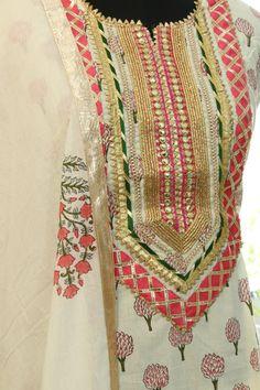 Shop Indian Salwar Kameez online made up of best quality fabrics with latest styles of unique suits - Designer Dresses Couture Salwar Suit Neck Designs, Neck Designs For Suits, Kurta Neck Design, Kurta Designs Women, Designs For Dresses, Dress Neck Designs, Salwar Designs, Punjabi Suits Designer Boutique, Boutique Suits