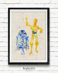 Star Wars R2-D2 et C-3PO aquarelle Art Print Robot par NeighborArts