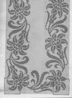 Filet Crochet, Crochet Cross, Crochet Stitches, Embroidery Stitches, Knit Crochet, Crochet Patterns, Crochet Tablecloth Pattern, Crochet Doilies, Hand Embroidery Design Patterns