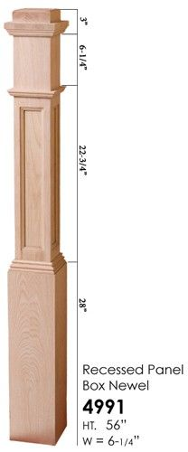 4991 Recessed Panel Box Newel - Cheap Stair Parts Cheap Stair Parts, Parts Of Stairs, Wood Columns, Newel Posts, Basement Renovations, Red Oak, Tall Cabinet Storage, Storage Drawers, Stairways