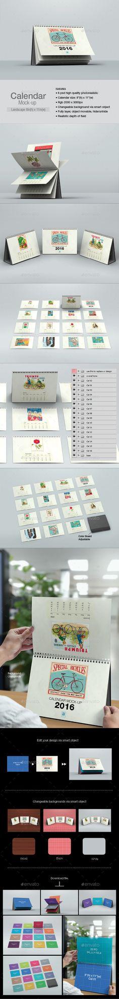 Calendar Mock-up Landscape #design Download: http://graphicriver.net/item/calendar-mockup-landscape/12902374?ref=ksioks