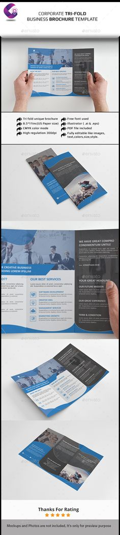 Corporate Tri-fold Brochure - Corporate Brochure Template Vector EPS, Vector AI. Download here: http://graphicriver.net/item/corporate-trifold-brochure/11927088?s_rank=1749&ref=yinkira