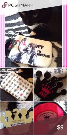 Cosmetic or card/money bag F--k Off I'm Shopping zippered pouch; 4 inches by 6 inches; new with tags never used; hot pink interior JKC Bags Cosmetic Bags & Cases
