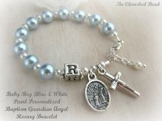 Catholic Baby Boy Personalized Baptism Light Blue Pearl Rosary Bracelet on Etsy, $25.00