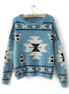 Geometric Print Mohair Sweater