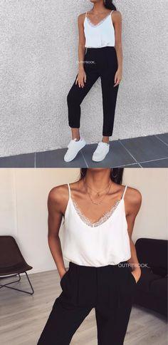 bb908fa546 Outfitbook | Haut Blanc | Haut Avec Une Encolure En V | Haut En Dentelle |  Haut Avec Des Fines Bretelles | Pantalon | Pantalon À Pince | Pantalon Noir  ...