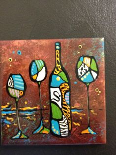 Funky abstract wine art on ceramic tiles by BrushedwithColor, $14.00
