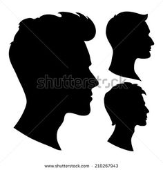 portrait of beautiful man with a hairstyle, in profile, isolated outline…