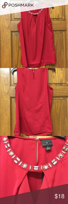 NWT Worthington Woman Rhinestone Blouse This is a beautiful NWT Worthington Woman bright red blouse with rhinestones decorating the collar right above a little peek-a-boo hole.  It hooks at the back of the neck with a hook and eye. Worthington Tops Blouses