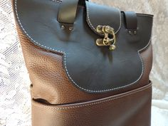 Medium handmade leather Tote. ,Brown and Black by RoundOakLeather on Etsy