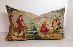 Decorative Pillow Cover in Bosprus Ocean 128 Distressed Toile Fabric Covington Bosporus 128 is a Renaissance toile scene with people at a