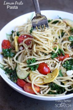 Pesto tossed noodles with sauteed vegetables including summer squash, kale and tomatoes Pesto Pasta, Lemon Pasta, Healthy Pasta Dishes, Healthy Pastas, Healthy Food, Healthy Recipes, Grilled Shrimp Recipes, Pasta Recipes, Spiralizer Recipes