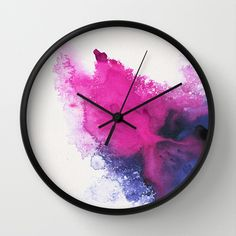 Watercolour splash Wall Clock by Typiskt - Black - Black Diy Resin Art, Diy Resin Crafts, Diy Arts And Crafts, Wall Clock Wooden, Wood Clocks, Antique Clocks, Clock Painting, Diy Painting, Resin Furniture