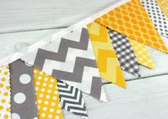 Banner Bunting, Photography Prop, Fabric Flags, Photo Prop,  Birthday Decoration, Nursery Decor - Gray and Yellow Chevron - Ready to Ship