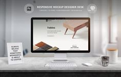Responsive Mockup Designer Desk is Photoshop PSD scene creator for presentation responsive web site design, create social network covers, banners, prepare printing materials and more. Photoshop Shapes, Mockup Photoshop, Scene Creator, The Creator, Thunderbolt Display, Site Design, Web Design, New Background Images, Responsive Web