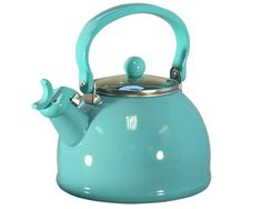 Reston Lloyd Calypso Basics Whistling Tea Kettle with Glass Lid, Turquoise, Farrow Ball, Tiffany Blue, My Favorite Color, My Favorite Things, Color Turquesa, Cast Iron Cookware, Chocolate Pots, Turquoise Color, Mint Color