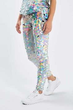 Hologram Sequin Leggings by Rosa Bloom - Pants & Leggings - Clothing