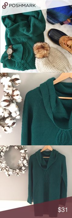 """NWOT Jade Sweater Dress Size M NEW without tags-- Jade, cowl-neck sweater dress with a cable-knot stripe down the front. Super soft, tight knit. I just love this rich jewel tone. 33"""" length by 18.5"""" bust. Brand: Pink Rose size M Pink Rose Sweaters"""
