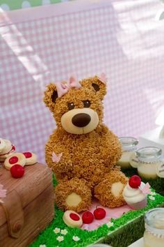 teddy bears picnic party table setting, cute sign, amazing dessert table, teddy cake close up