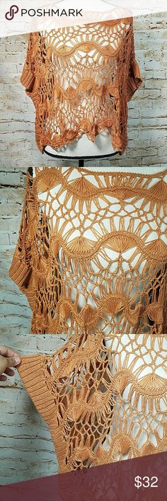 Anthropologie  WILLOW AND CLAY Crochet crop Beautiful color Hairpin Lace Crochet Sweater poncho  Missing size but fits small / medium Willow & Clay Tops Crop Tops