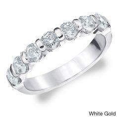 Amore 14k White or Yellow Gold 1.5ct TDW Diamond Wedding Band (H-I, I1-I2) (White Gold - 4), Women's