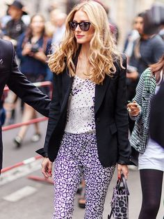 Olivia Palermo nails the mixing print game with these unique purple micro and cheetah prints.