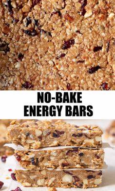 No-Bake, homemade and healthy peanut butter filled snack bars with simple ingredients. Peanut butter, oatmeal, almonds are all pantry staple ingredients that make up this easy and kid-friendly snack! (Totally customizable too! Healthy Baking, Healthy Desserts, Healthy Recipes, Baking Snacks, Protein Bar Recipes, No Bake Snacks, Gluten Free Snacks, Protein Foods, Vegan Baking