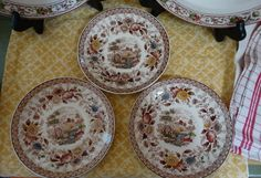 """Ridgway """"Woodland"""" Set of 3 Saucers each Six Inches in Multi-Brown Transferware…"""