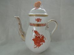 Herend Chinese Bouquet Rust Individual Teapot 1613 Wedding Anniversary Birthday Gift by ColorfullGifts on Etsy